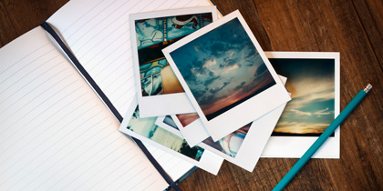 photo crafts pictures on table