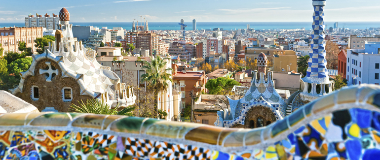 This Mediterranean port is home to Park Guell, a 42-acre garden complex designed by Antoni Gaudi.