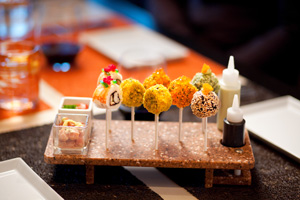 sushi lollipops at qsine on celebrity cruises