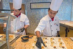 chefs at taste bar restaurant on carnival sunshine