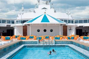 people swimming in cruise ship pool