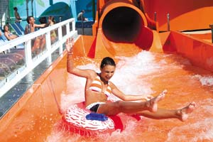 girl on waterslide norwegian cruise line