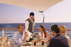 people eating at cruise ship cafe