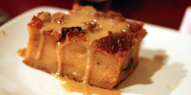 norwegian warm bread pudding caramel sauce