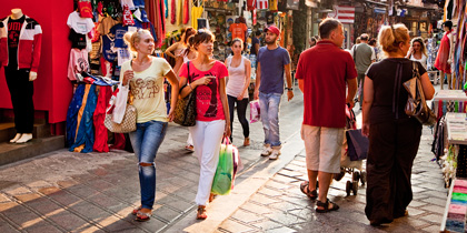 Shopping on Adrianou Street in Athens