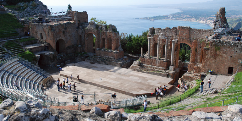 amphitheater in pompeii, messina.