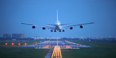 Plane landing on a runway
