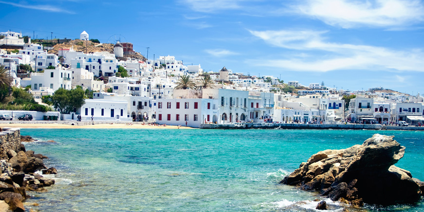Shoreline of Mykonos from the water