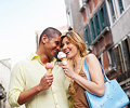 Couple eating gelato in Europe