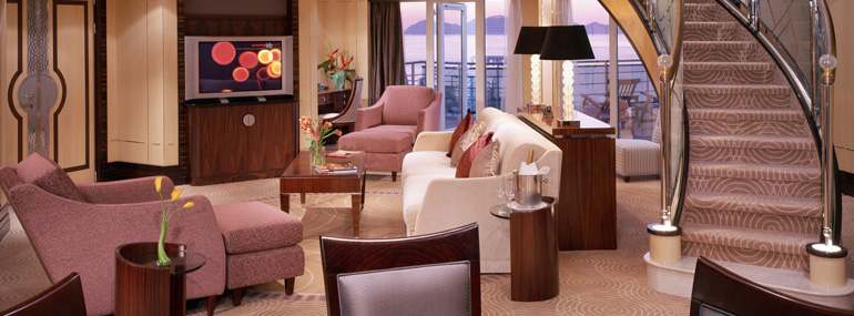 Which cruise line currently has the most expensive suite at sea, starting at $18,448 per person?