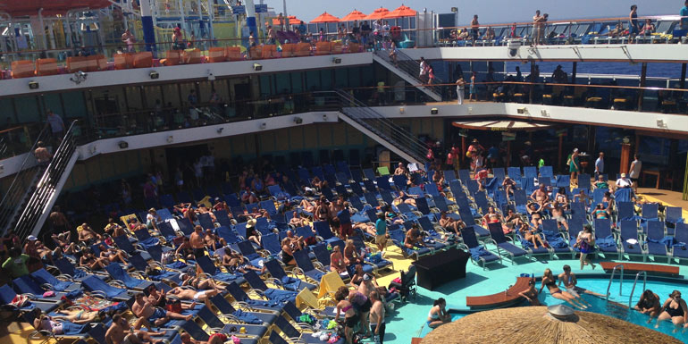 crowded cruise ship pool carnival