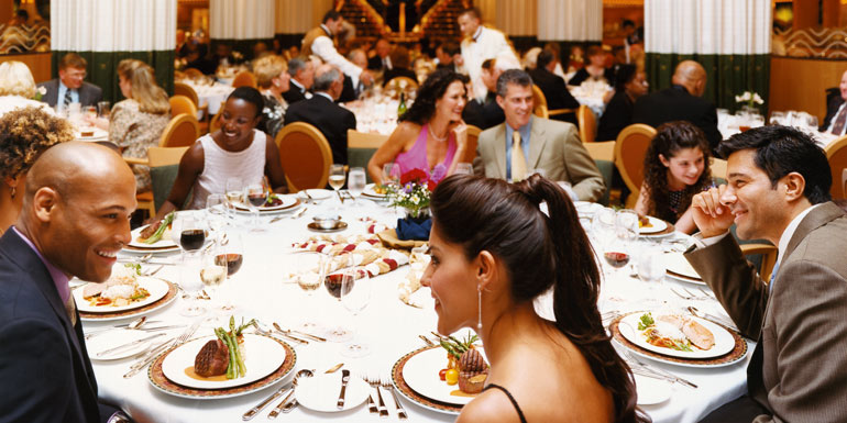 royal caribbean crowded cruise ship dining