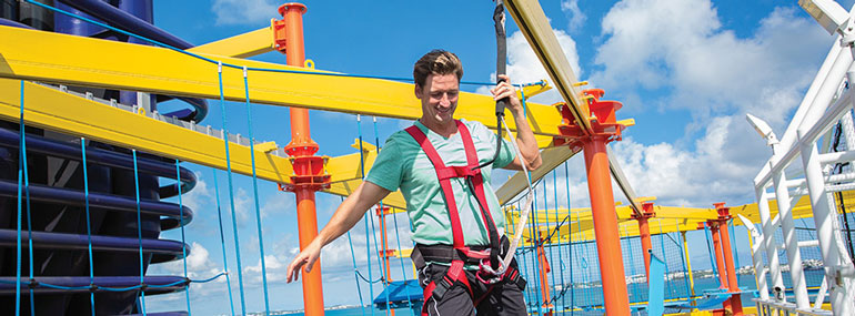 The Norwegian ropes course on Breakaway-class ships is the ONLY ropes course at sea where you can...