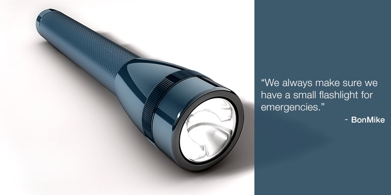 cruise packing tips flash light flashlight