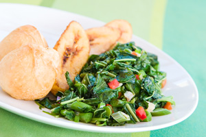 callaloo with fried dumplings