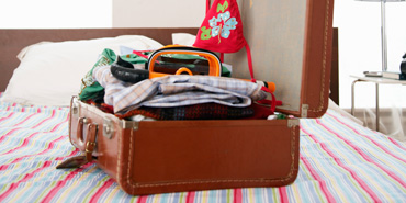 An open, packed suitcase