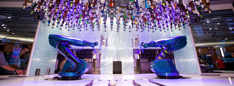 Who made the bionic bartenders at the Robot Bar?