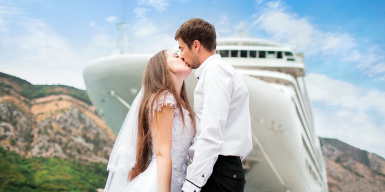 married cruise ship port wedding docked