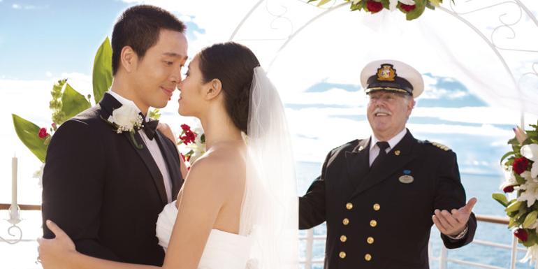 wedding cruise ship married beach sea