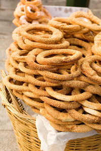 Greek bagels in a basket mykonos greece