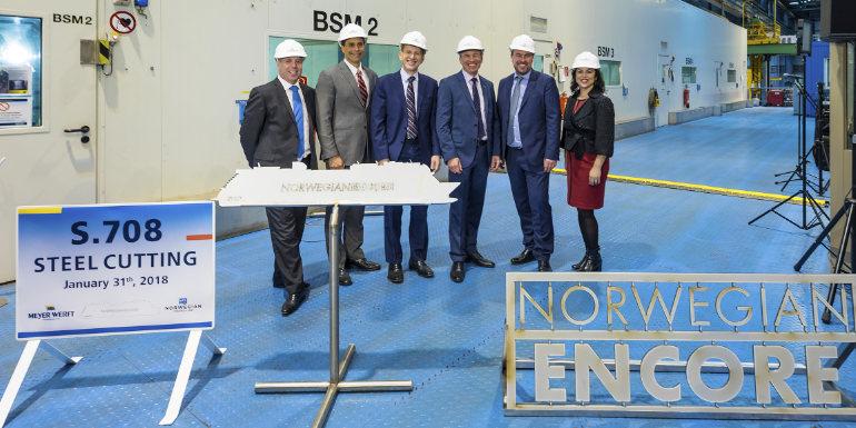 norwegian encore cruise ship construction begins