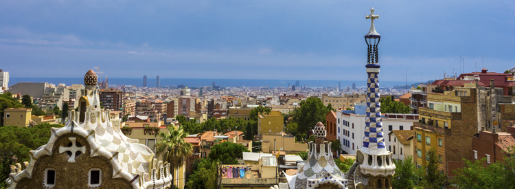 skyline of barcelona spain